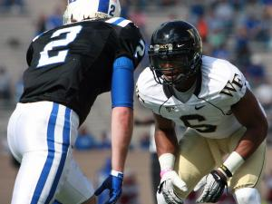 Wake Forest cornerback Kenny Okoro during Wake's 24-23 victory at Duke on Saturday, October 22, 2011 (Photo by Jack Morton).