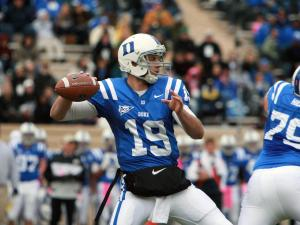 Duke quarterback Sean Renfree during the Devils' 14-10 loss to Virginia Tech on Saturday, October 29, 2011 (Photo by Jack Morton).
