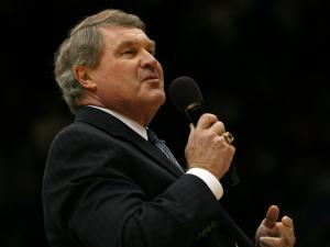 ACC Commisioner John Swofford during a post-game celebration honoring Duke coach Mike Krzyzewski, following the 82-69 Duke victory over Davidson on Friday, November 18, 2011 (Photo by Jack Morton).