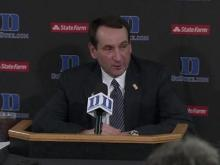 03/03: Krzyzewski: We feel fortunate that we split with them