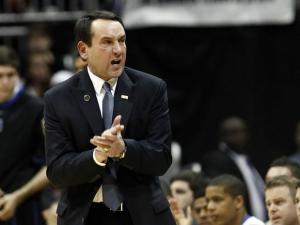 Duke head coach Mike Krzyzewski during the semi-final round of the ACC Tournament on March 10, 2012.
