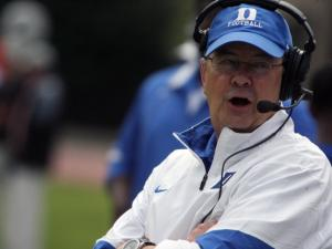 Duke coach David Cutcliffe during the 2012 spring football game at Wallace Wade Stadium on Saturday, March 31, 2012 in Durham, N.C. (Photo by Jack Morton).