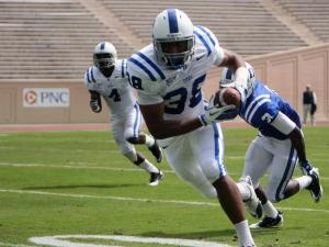 Duke's Jordon Byas returns an interception for a touchdown during the 2012 spring football game at Wallace Wade Stadium on Saturday, March 31, 2012 in Durham, N.C. (Photo by Jack Morton).