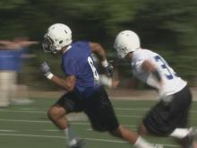 Duke sophomore wide receiver Blair Holliday runs a route during spring workouts.