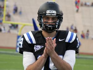 Duke's Sean Renfree to the Blue Devils' game against in-town rival North Carolina Central on Saturday, September 15, 2012 in Durham, NC (photo by Jack Morton).