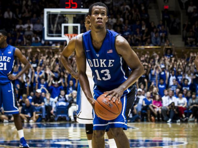 Rodney Hood, 13, forward, prepares to shoot a free throw at Cameron Indoor Stadium during Duke University's Countdown to Craziness on October 19, 2012.<br/>Photographer: John West