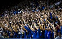 Fans cheer on the Blue and White teams during Duke University's Countdown to Craziness, which was held at Cameron Indoor Stadium on October 19, 2012.
