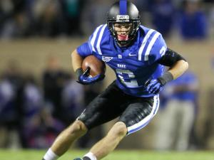 Duke's #2 Conner Vernon runs after a catch as Duke comes back to defeat UNC 33 to 30 Saturday night October 20, 2012. (Photo by Jack Tarr)