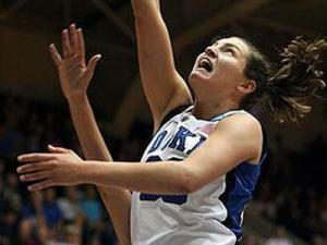 Duke's Haley Peters during the Devils' NCAA Opening Round victory UT Martin on Saturday, March 19, 2011 at Cameron Indoor Stadium in Durham, NC (Photo by Jack Morton).