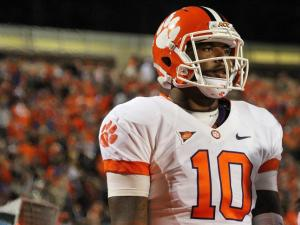 Clemson's Tajh Boyd during the Tigers' 56-20 win at Duke on Saturday, November 3, 2012 in Durham, NC (Photo by Jack Morton).