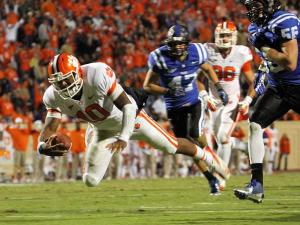 Clemson's Tajh Boyd leaps for a touchdown during the Tigers' game at Duke on Saturday, November 3, 2012 in Durham, NC (Photo by Jack Morton).
