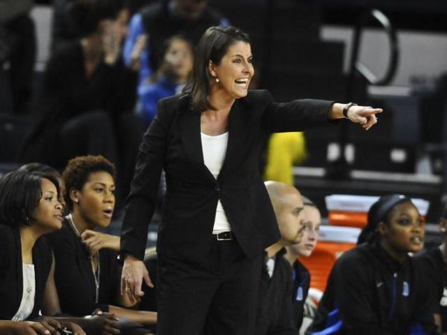 Duke head coach Koanne McCallie gives instructions from the sidelines during Duke&#039;s 71-54 win over Michigan at Crisler Center in Ann Arbor, Mich. on Wednesday, Nov. 28, 2012.<br/>Photographer: Erin Kirkland