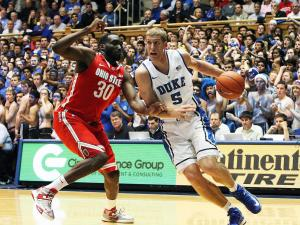 Duke's Mason Plumlee during the Devils' 73-68 win over Ohio State on Wednesday, November 28, 2012 in Durham, NC (Photo by Jack Morton).