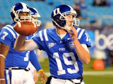 Duke Blue Devils quarterback Sean Renfree #19 warms up prior to a game against the Cincinnati Bearcats during the Belk Bowl at Bank of America Stadium on December 27, 2012 in Charlotte, North Carolina. (Photo by Lance King)