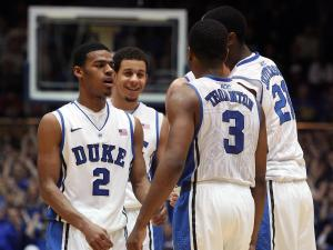 Duke's Seth Curry (smiling) and teammates during the Blue Devils' 68-40 victory over Clemson on Tuesday, January 8, 2013 in Durham, NC (Photo by Jack Morton).