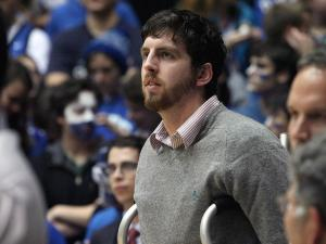 Duke's injured senior Ryan Kelly prior to the Blue Devils' game against Georgia Tech on Thursday, January 17, 2013 in Durham, NC (Photo by Jack Morton).