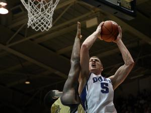 Duke's Mason Plumlee during the Blue Devils' 73-57 victory over Georgia Tech on Thursday, January 17, 2013 in Durham, NC (Photo by Jack Morton).