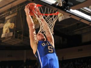 Duke Blue Devils forward Mason Plumlee (5) goes up for a dunk during a game against the Wake Forest Demon Deacons at Lawrence Joel Coliseum on January 30, 2013 in Winston Salem, NC. (Photo by Lance King)