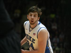 Duke's Ryan Kelly during the Blue Devils' 79-76 victory over Miami on Saturday, March 2, 2013 in Durham, NC (Photo by Jack Morton).