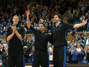 Duke seniors (left to right) Mason Plumlee, Seth Curry, and Ryan Kelly before the Blue Devils' game against Virginia Tech on Tuesday, March 5, 2013 in Durham, NC (Photo by Jack Morton).