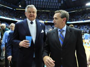 Carolina Panthers owner Jerry Richardson (left) seen with UNC athletic director Bubba Cunningham before the North Carolina Tar Heels vs. Duke Blue Devils NCAA basketball game, Saturday, March 9, 2013 in Chapel Hill, NC.