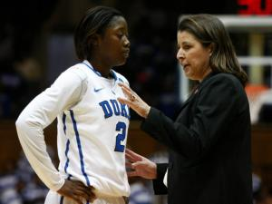 Coach Joanne McCallie talks with Alexis Jones (2) during the first round game of the NCAA Women's Basketball Tournament between Hampton and Duke in Durham, N.C., Sunday, March 24, 2013.
