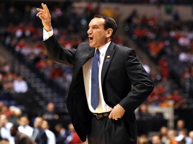 Head Coach Mike Krzyzewski of the Duke Blue Devils directs his team against the Michigan State Spartans at Lucas Oil Stadium on March 29, 2013 in Indianapolis, IN. Duke defeated Michigan State 71-61. (Photo by Lance King)