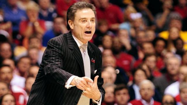Head Coach Rick Pitino of the Louisville Cardinals directs his team against the Duke Blue Devils during the Midwest Regional Final of the 2013 NCAA Men's Basketball Tournament at Lucas Oil Stadium on March 31, 2013 in Indianapolis, IN. Louisville defeated Duke 85-63. (Photo by Lance King)