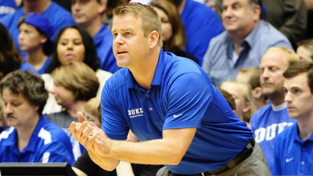 Coach Steve Wojciechowski during Countdown to Craziness (Blue-White Scrimmage) on October 18, 2013 in Durham, NC.