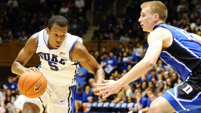 FILE: Rodney Hood (5) during Countdown to Craziness (Blue-White Scrimmage) on October 18, 2013 in Durham, NC.