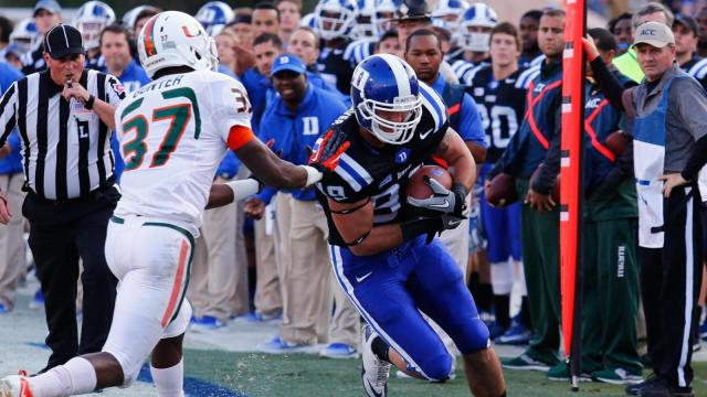 Braxton Deaver (89) with the catch for Duke. The Miami Hurricanes face Duke at Wallace-Wade Stadium for a showdown of the 7-2 ACC teams. Duke shocks the Canes with a 48 to 30 victory. Photo by CHRIS BAIRD