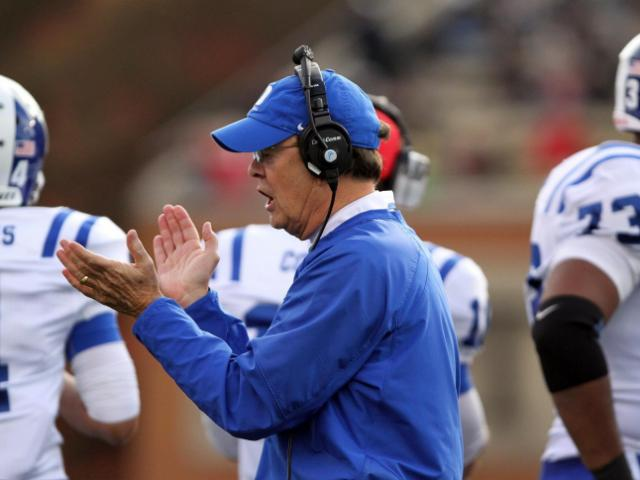 Duke coach David Cutcliffe during the Blue Devils' game versus Wake Forest on November 23, 2013 in Winston-Salem, NC.  Duke defeated Wake Forest 28-21 (Photo by Jack Morton).