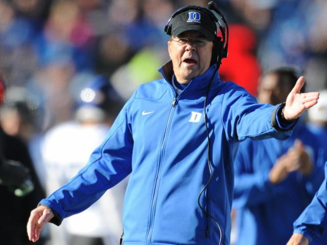 Duke head coach David Cutcliffe during action at Kenan Stadium between the University of North Carolina Tar Heels and the Duke University Blue Devils on November 30, 2013 in Chapel Hill, NC.