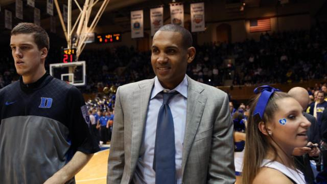 Duke legend Grant Hill prior to the Blue Devils' game versus Michigan on Tuesday, December 3, 2013 in Durham, NC.  Duke defeated Michigan 79-69 (Photo by Jack Morton).