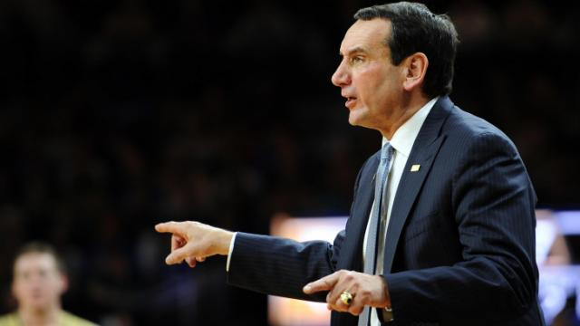 Duke Blue Devils Head Coach Mike Krzyzewski directs his team against the Notre Dame Fighting Irish at Purcell Pavilion at the Joyce Center on January 4, 2014 in South Bend, Indiana. Notre Dame defeated Duke 79-77 in their first-ever Atlantic Coast Conference game. (Lance King/WRAL contributor)