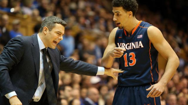 Virginia coach Tony Bennett and Anthony Gill during the Cavaliers' game versus the Blue Devils on Monday, January 13, 2014 in Durham, NC.  Duke defeated Virginia 69-65 (Photo by Jack Morton).
