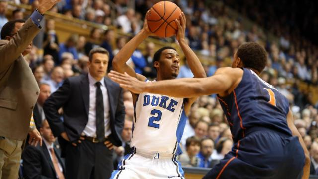 Duke's Quinn Cook during the Blue Devils' game versus the Cavaliers on Monday, January 13, 2014 in Durham, NC.  Duke defeated Virginia 69-65 (Photo by Jack Morton).