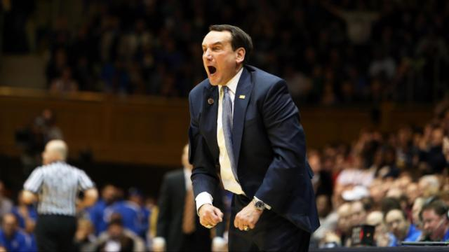 Duke coach Mike Krzyzewski during the Blue Devils' game versus Maryland on Saturday, February 15, 2014 in Durham, NC.  Duke defeated the Terrapins 69-67.  (Photo by Jack Morton)