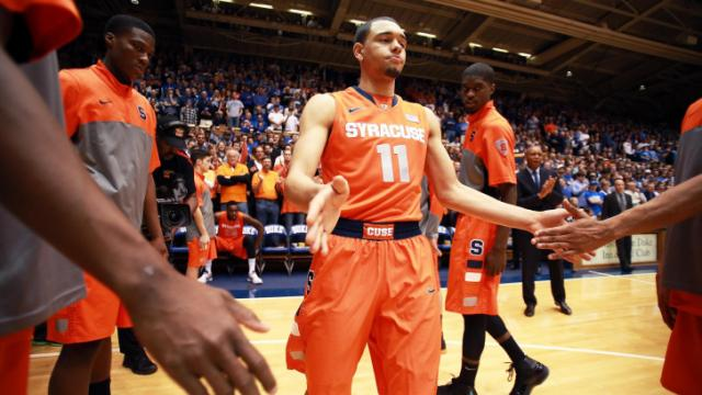 Syracuse's Tyler Ennis prior to the Duke Blue Devils' game versus Syracuse on Saturday, February 22, 2014 in Durham, NC.  Duke defeated the Orange 66-60.  (Photo by Jack Morton)