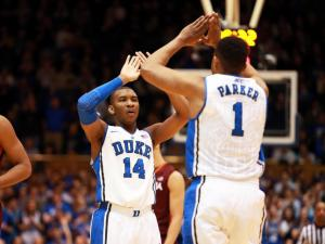 Duke's Rasheed Sulaimon (center) and Jabari Parker during the Blue Devils' game versus Virginia Tech on Tuesday, February 25, 2014 in Durham, NC.  Duke defeated the Hokies 66-48.  (Photo by Jack Morton)