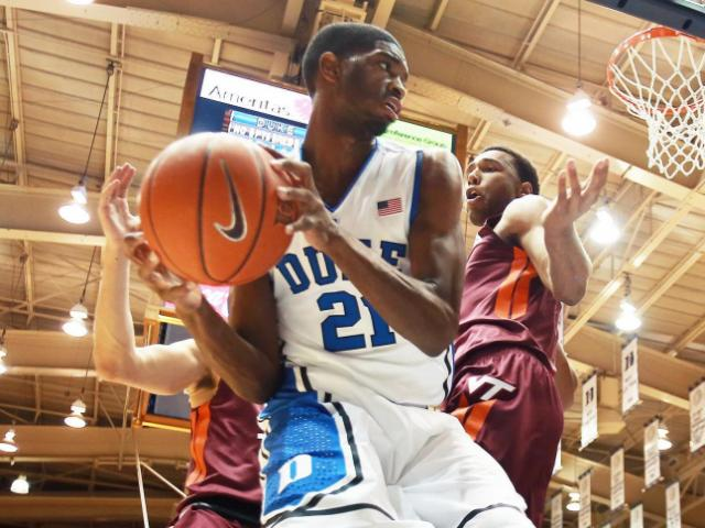 Duke's Amile Jefferson during the Blue Devils' game versus Virginia Tech on Tuesday, February 25, 2014 in Durham, NC.  Duke defeated the Hokies 66-48.  (Photo by Jack Morton)