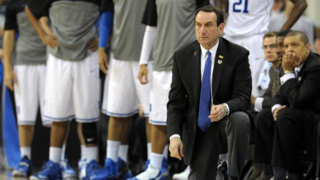 Duke Blue Devils Head Coach Mike Krzyzewski looks on during a game against the Mercer Bears during the second round of the 2014 NCAA Men's Basketball Tournament at PNC Arena on March 21, 2014 in Raleigh, NC. The Mercer Bears defeated the Duke Blue Devils 78-71. (Lance King/WRAL contributor)