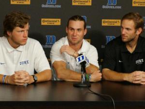 Duke men's lacrosse players meet with the media following their national title win.