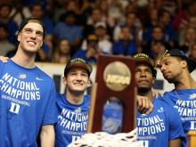 The Duke Blue Devils returned to Durham to the welcome of thousands of fans after claiming the 2015 NCAA Tournament title.