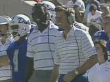 Mic'd up: Spurrier wears a microphone for WRAL-TV on the Duke sidelines in 1989
