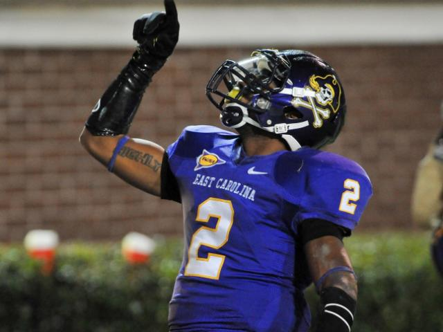 FILE: East Carolina Pirates wide receiver Justin Hardy (2) caught 6 passes during tonights game. East Carolina defeats UCF 38-31 at Dowdy-Ficklen Stadium in Greenville North Carolina. <br/>Photographer: Anthony Barham