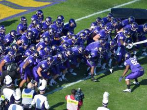 East Carolina Pirates get ready to take the field during todays game.East Carolina defeats Marshall  65-59 in O.T. at Dowdy-Ficklen Stadium in Greenville North Carolina. (Photos By Anthony Barham)