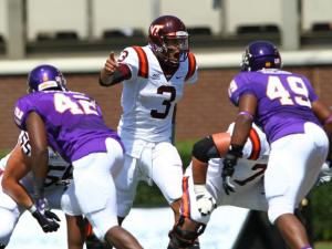 Logan Thomas (3) barks out signals for Va Tech. Virginia Tech travels to East Carolina University on Saturday September 14, 2013. After a tied half at 7 to 7 Va Tech edges ECU with a 10-15 road victory. Photo by CHRIS BAIRD
