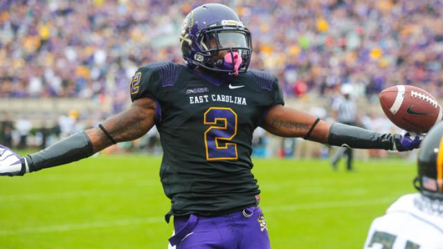 East Carolina Pirates wide receiver Justin Hardy (2) celebrates after scoring a touchdown during todays game. East Carolina defeats Southern Miss 55-14 on Saturday, October 19, 2013 in Greenville, NC (Photos By Anthony Barham)