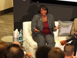 NCCU's Dr. Ingrid Wicker-McCree at a Fan Town Hall hosted by 99.9 The Fan ESPN Radio Thursday.